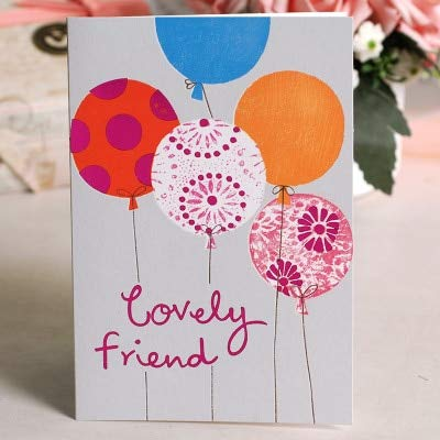 LooBooShop Cute Birthday Cards Glitter BalloonsFlower Cake Gift Greeting Card