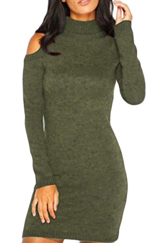 Alion Women's Sexy Turtleneck Cold Shoulder Bodycon Pencil Knitted Sweater Midi Dress Green L