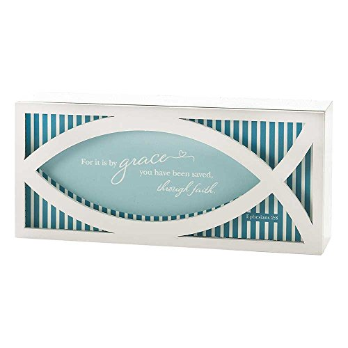 (By His Grace Ephesians 2:8 Fish Aqua Stripe 3.5 x 8 Wood Table Top Sign Plaque)