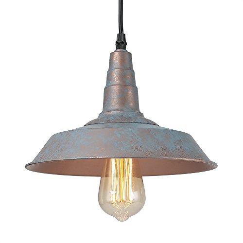 LALUZ 1-Light Vintage Blue Pendant Lighting Rustic Barn Ceiling Lights Warehouse Chandeliers
