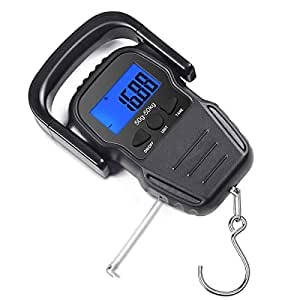 CaseBuy Digital Fish Scale 110lb/50kg, Portable Luggage Weight Scale, Electronic Hanging Hook Scale Fishing Scale with Measuring Tape/Large Backlit LCD Display, Batteries Included