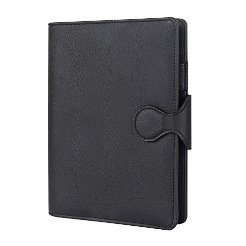 Grope Travel Refillable Journal for Men A5 6 Ring Planner Binder Soft PU Leather Cover Loose Leaf Notebook Lined Paper with Round Magnetic Buckle (Ink Black)
