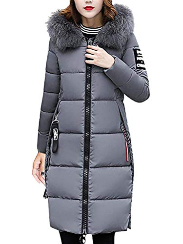 Faux Solid Women Overcoat Grey Coat Slim Winter Warm Ladies Slim Hooded Outwear Jacket Down Casual Collar Tomwell Oversize Jacket Fur Padded Parka SBgqaBP