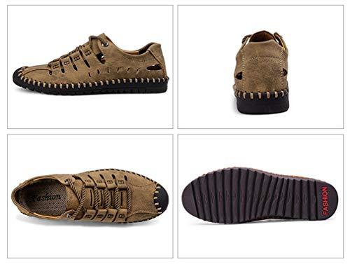 Yan Sandales À Taille 39 Hommes Printemps De Automne Marron Microfibre Respirantes Pour Mocassins Capuche Mode Conduite Lacets couleur 2018 Léger Décontractés Noir chaussures Chaussures O7n1rOA