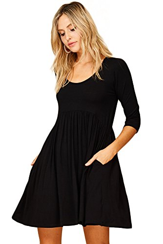 Annabelle Women's 3/4 Sleeve A-Line Causal Pocket Swing Dress Small Black D5227