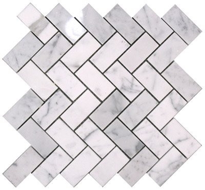 Carrara (Carrera) Bianco Honed 1x2 Herringbone Mosaic Tile by Traditions in Stone