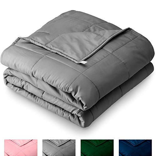 Bare Home Weighted Blanket 10lb - Throw/Travel Size for Kids or Adult - All-Natural 100% Cotton - Heavy Blanket Nontoxic Glass Beads (Grey, 40