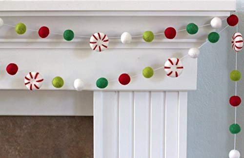 Peppermint Felt Ball Christmas Garland- Red, Lime, Kelly Green, White- Christmas Holiday Winter- 1