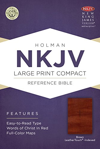 Price comparison product image NKJV Large Print Compact Reference Bible, Brown Cross LeatherTouch, Indexed