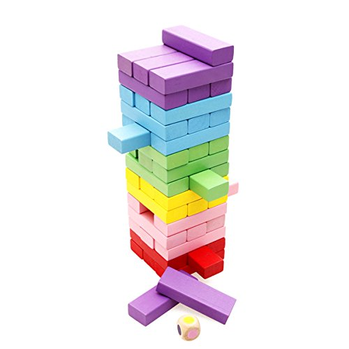 Tumble Tower (Lewo Wooden Board Games Tumbling Tower Building Blocks for Kids - 48)