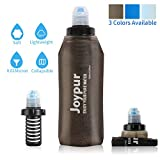 Joypur Portable Filtered Water Bottle Camping 2-Stage Integrated Collapsible Water Purifier with Filter for Endurance Sports, Hiking and Backpacking, 20 oz