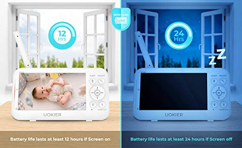 "41IvLTpS1wL - Baby Monitor, UOKIER 5"" Video Baby Monitor With Camera And Audio, 1080P HD Baby Camera, 5200 MAh Battery, 1000ft Range, 2-Way Audio, Auto Night Vision, Temperature Monitoring, Lullabies"