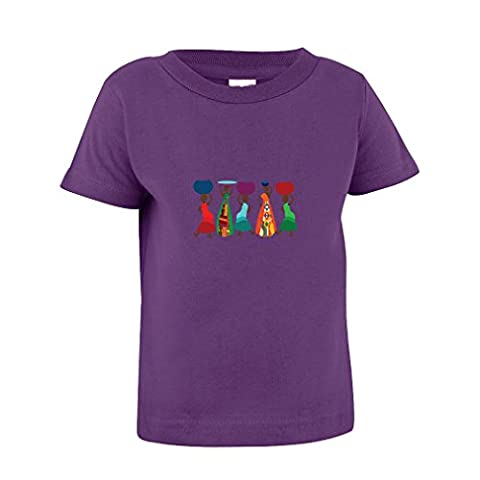African Women Cartoon Character Toddler Baby Kid T-Shirt Purple Tee 6 Mo - 7T - 7T - Toddler Purple Character T-shirt