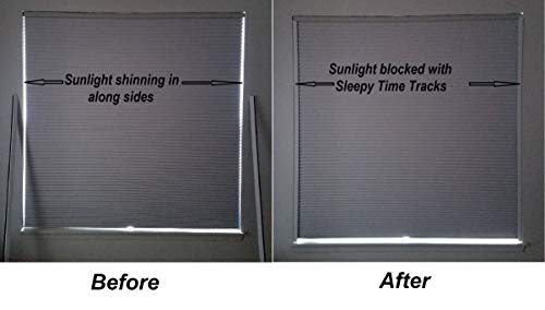 Sleepy Time Tracks a Room Darkening Solution That Blocks Light Along The Sides of Blackout Shades. 60