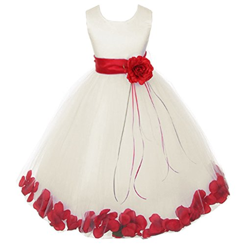Little Girls Ivory Sleeveless Satin Bodice Floating Flower Petals Girl Dress with Matching Organza Sash and Double Tulle Skirt - Red Set - Size 2