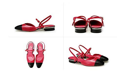 Oveja Cuero 38 Sandalias Mujer Zapatos Red 34 Colorblock Verano Hueco Pequeñas De Baotou Xie wqx0RBzTz