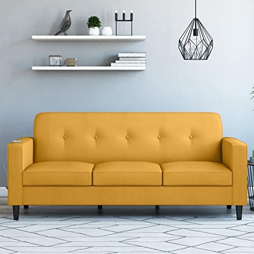Domesis Square Arm Sofa with USB Power Ports in Mustard Yellow Linen
