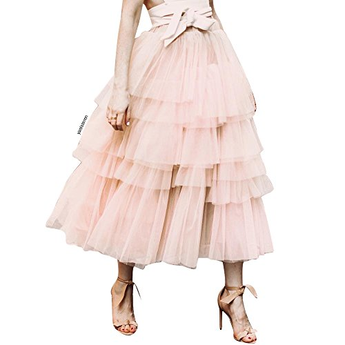 Chicwish Women's Nude Pink Tiered Layered Mesh Ballet Prom Party Tulle Tutu A-line Midi Skirt by Chicwish