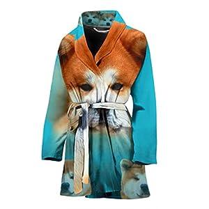 Pawzglore Cute Akita Dog Print Women's Bath Robe 12