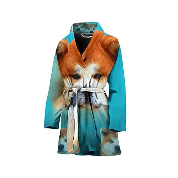 Pawzglore Cute Akita Dog Print Women's Bath Robe 1
