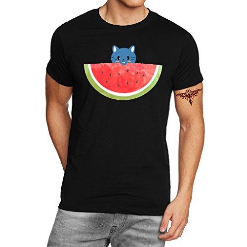 YISUMEI Men's T-Shirt Short Sleeve Tee Cat Watermelon Cute Black XXX-Large