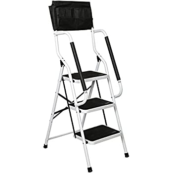 Folding 3-Step Safety Step Ladder - Padded Side Handrails - Attachable Tool Pouch Caddy  sc 1 st  Amazon.com & Amazon.com: Little Giant 3 step Aluminum 2-1/4 Feet 300 lb ... islam-shia.org