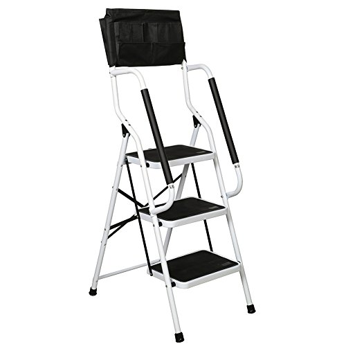 Folding 3-Step Safety Step Ladder - Padded Side Handrails - Attachable Tool Pouch Caddy