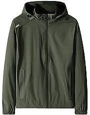 ZDDTU Men's Hooded Jacket Lightweight Casual Long-Sleeve Full-Zip Bomber Jacket Plus Size Waterproof Outerwear with Pocket