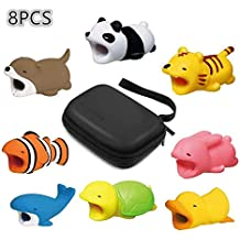 Cute Animals Cable Bites[8Pcs], LEWOTE Phone Cable Cord Protector Accessories[Gift a Accessories Storage Travel Bag] (8 Pack)