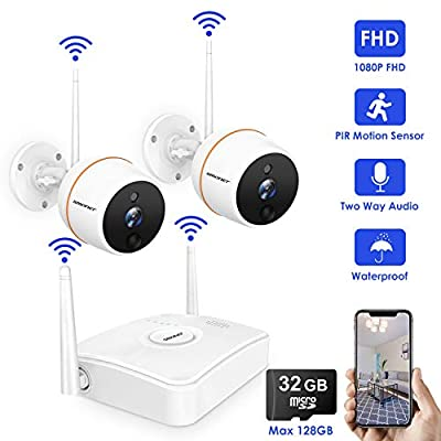 [1080P NVR] SMONET Security Camera System Wireless,1080P 4CH Mini NVR and 1pc Night Vision 1080P Outdoor WiFi IP CCTV Camera,True Plug&Play,Outdoor Wireless Security System with 32G TF Card(Max 128G)