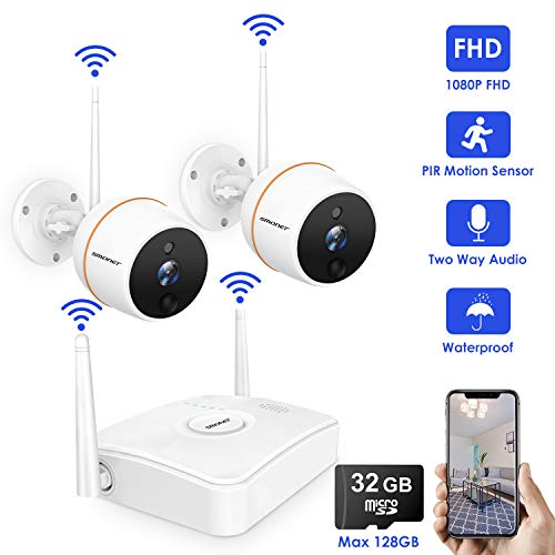 SMONET [Mini NVR] Wireless Security Cameras System,4CH 1080P NVR and 2pcs 1080P Waterproof WiFi Camera,Support PIR Motion Sensor,2-Way Audio,Outdoor Cameras System Wireless with 32G TF Card(Max 128G)
