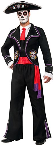 Mariachi Costume Man (Forum Novelties Men's Day Of Dead Mariachi Macabre Costume, Black, Standard)