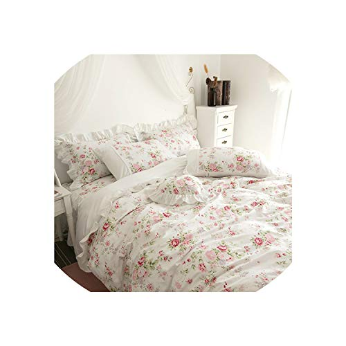 100% Cotton White Pink Floral Girls Princess Bedding Set Twin Queen King Size Duvet Cover Bedsheet Set Bedskirt Linen Pillowcase,Bedding Set 1,King Size 4Pcs