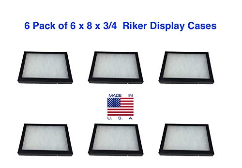 6 Pack of Riker Mount Display Cases 6 x 8 x 3/4 for Collectibles Jewelry & More