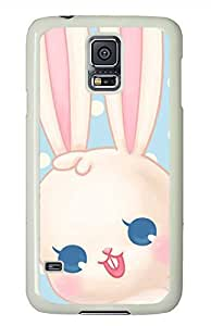 Cute White Bunny 2 PC White Hard Case Cover Skin For Samsung Galaxy S5 I9600 by icecream design
