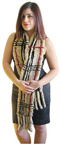 Plaid Striped Camel Knitted Mink Oversize Scarf by FursNewYork