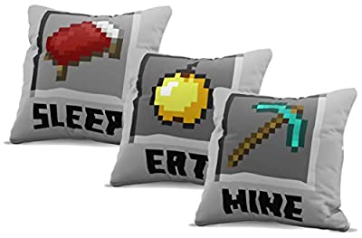 Jay Franco Minecraft Eat, Sleep, Mine Decorative Pillow Cover Set - Kids Super Soft 3-Pack Throw Pillow Cover - Measures 15 Inches x 15 Inches (Official Minecraft Product)