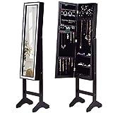 Giantex Mirrored Jewelry Cabinet Armoire Mirror w/Resin Diamond Design Standing Storage Organizer Box, Black