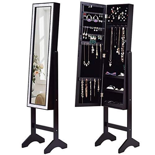 Giantex Mirrored Jewelry Cabinet Armoire with Mirror w/Resin Diamond Design Standing Storage Organizer Box, Black by Giantex
