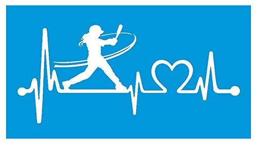 (Bluegrass Decals K1072 Softball Girl Batter Batting Heartbeat Lifeline Decal Sticker)