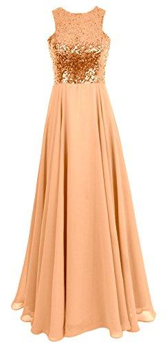 Gold Women Wedding Long Dress MACloth Chiffon Gown Evening Rose Bridesmaid Formal Sequin PRdI616xwq