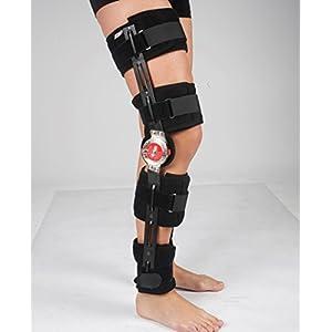 ROM Adjustable Knee Brace Support- Post Op Hinged - Universal Leg Size 17