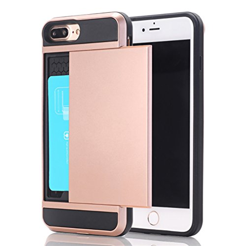 Price comparison product image ANERNAI iPhone 8plus Cover Shockproof Wallet Case Anti-Scratch Protective Shell with Card Holder Hard Cover for iPhone 8 Plus (Rose Gold)