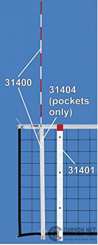 """Carron Volleyball Net Antennas, Solid Fiberglass Rods, set of 2, 72"""" L X 38"""" diameter; complete with sturdy vinyl lace-on pockets."""