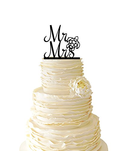 Mr And Mrs With Sea Turtle Acrylic or Baltic Birch Wedding Special Event Cake Topper by Avery Carey