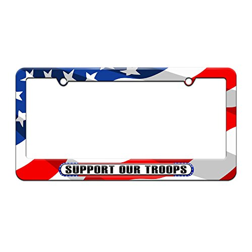 (Graphics and More Support Our Troops - USA America Pride Flag - License Plate Tag Frame - American Flag)