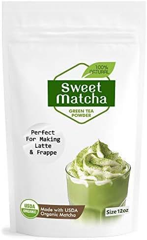Japanese Sweet Matcha Green Tea Powder 12oz | 340g Green Powder Latte Grade | Delicious Energy Drink Shake Latte Frappe Smoothie | Made with USDA Organic Matcha | Matcha Outlet