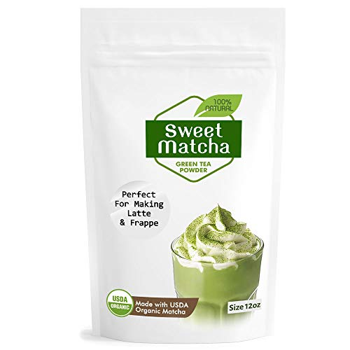 Sweet Matcha Green Tea Powder Mix- Made with 100% Organic Matcha - Perfect for Making Green Tea Latte or Frappe. (1 x 12oz)