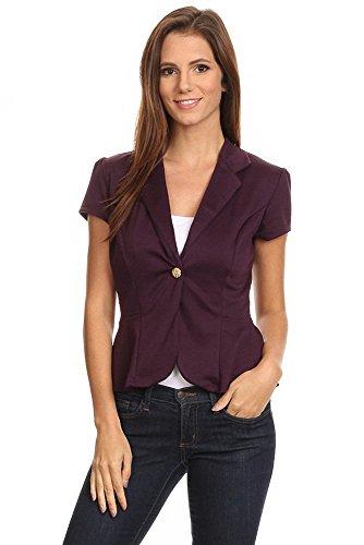 Sassy Apparel Women's Stylish Single Button Solid Blazer Peplum Jacket (Small, Purple) by SASSY APPAREL