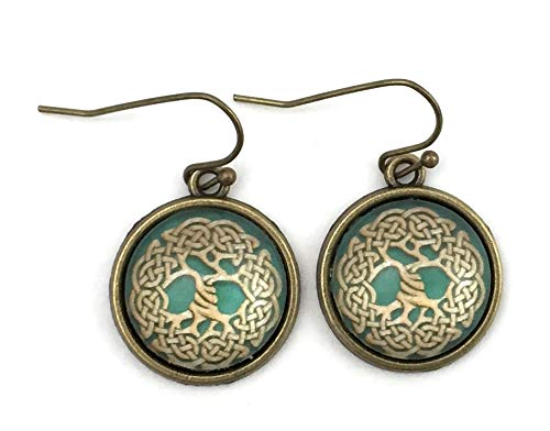 Tree of Life Earrings - Celtic Knot - Antique Brass - Handmade